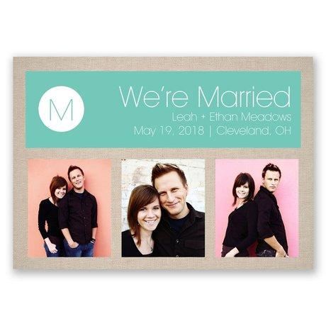 Burlap and Monogram Wedding Announcement