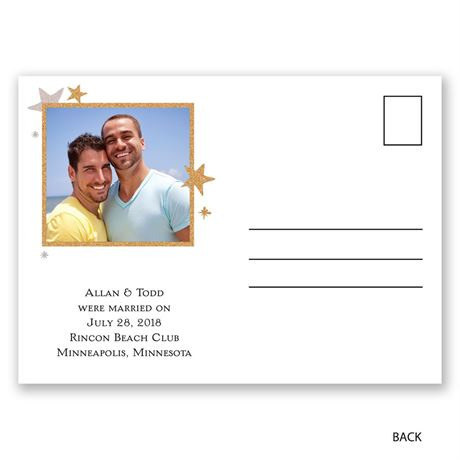 All-Stars - Faux Glitter - Wedding Announcement Postcard