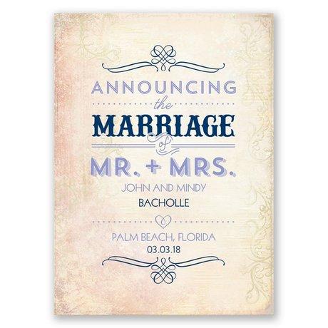 Antique Finish - Wedding Announcement Postcard