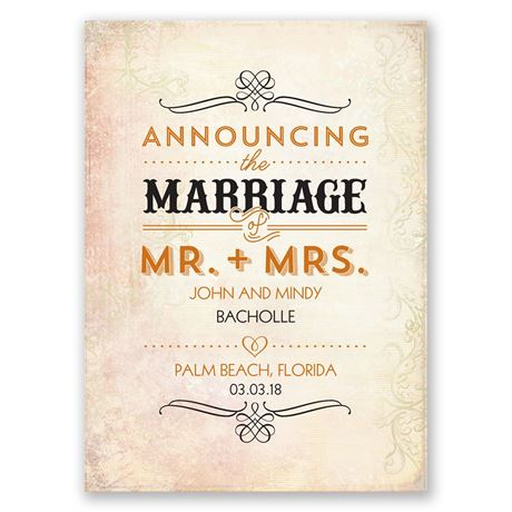Antique Finish Wedding Announcement Postcard