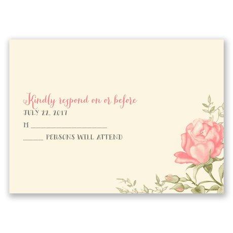 Delicate Roses - Ecru - Response Card