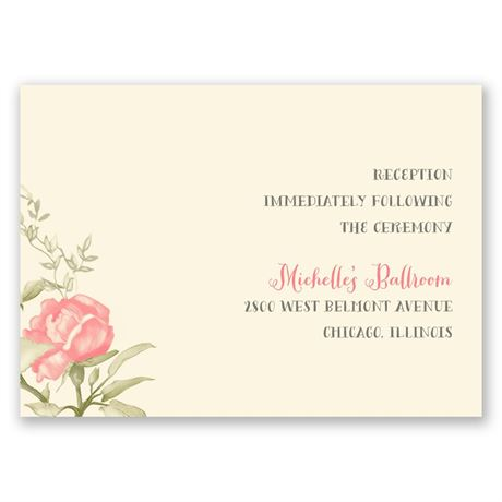 Delicate Roses - Ecru - Reception Card