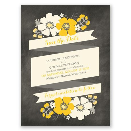 Poppy Perfection - Ecru - Save the Date Card