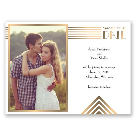 Gold Medallion Save the Date Card