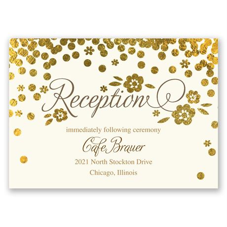 Gold Confetti Reception Card