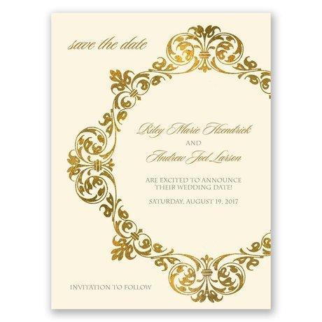 Gold Crest - Ecru - Save the Date Card
