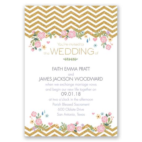 Chevron and Roses Faux Glitter Invitation