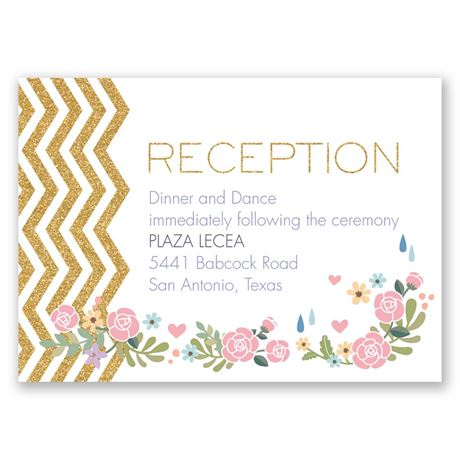 Chevron and Roses Faux Glitter Reception Card