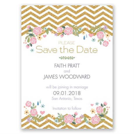 Chevron and Roses Faux Glitter Save the Date Card