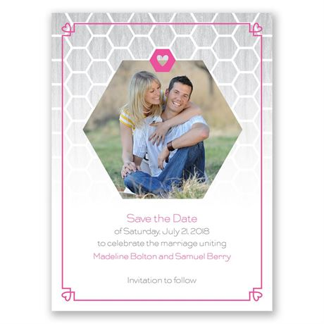 Honeycomb Heart Save the Date Card