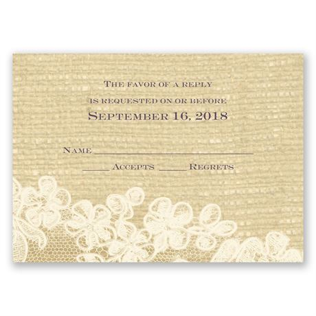 Lace Finish - Ecru - Response Card
