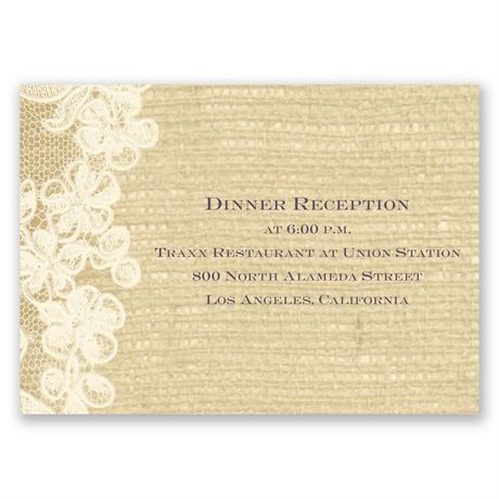 Lace Finish - Ecru - Reception Card
