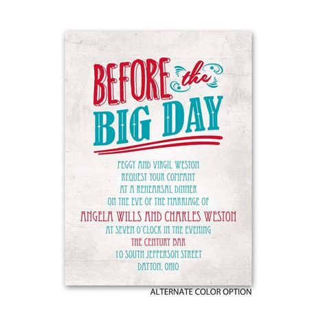 Before the Big Day - Petite Rehearsal Dinner Invitation