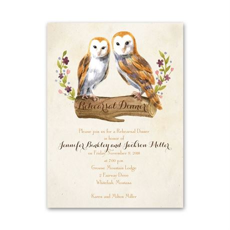Vintage Owls Petite Rehearsal Dinner Invitation