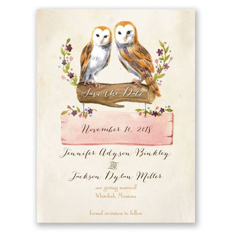 Vintage Owls Save the Date Card