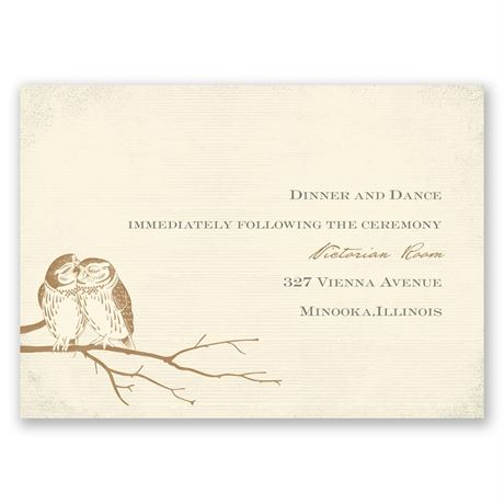 Owl Be Yours - Ecru - Reception Card