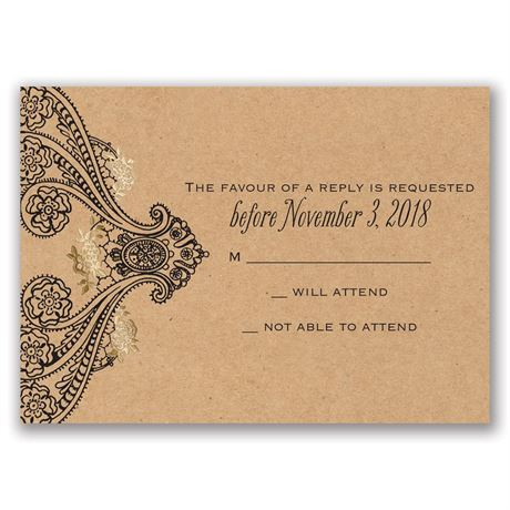 Henna Allure - Gold - Foil Response Card
