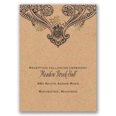 Henna Allure - Gold - Foil Reception Card