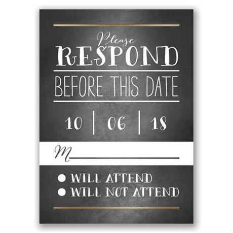 Filigree on Chalkboard - Gold - Foil Response Card