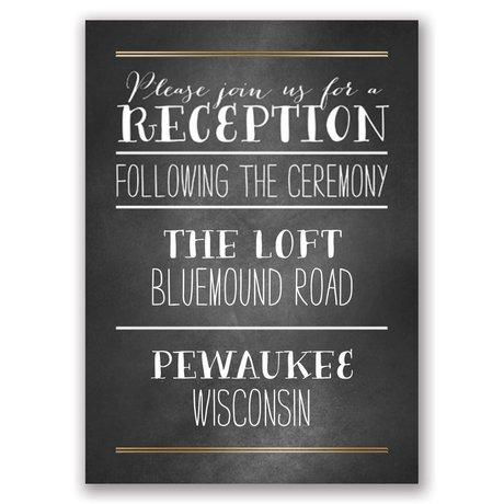 Filigree on Chalkboard - Gold - Foil Reception Card