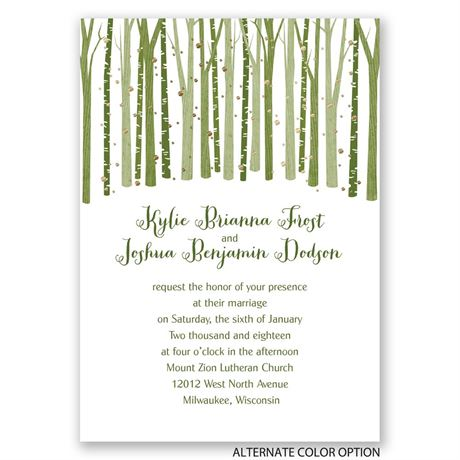 Woodland Snowfall - Gold - Foil Invitation