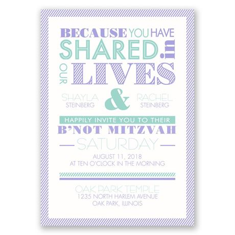 "Modern Typography - B""not Mitzvah Invitation"