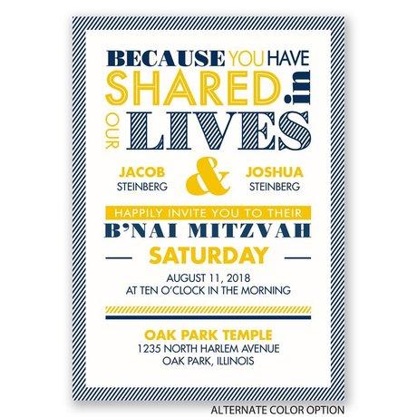 "Modern Typography - B""nai Mitzvah Invitation"