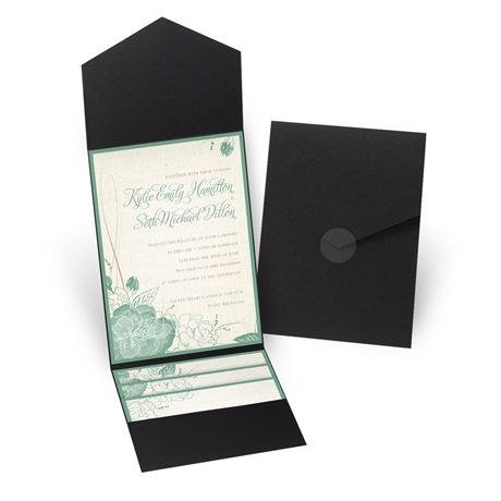 Floral Linen - Black - Pocket Invitation
