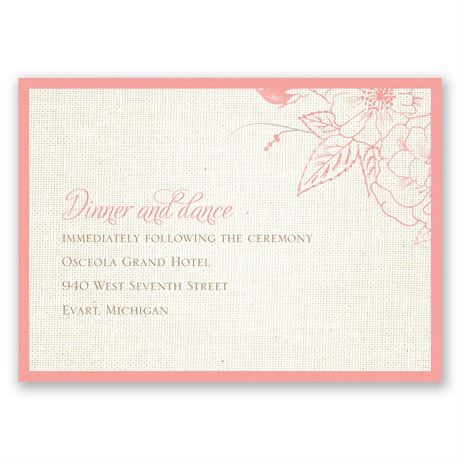 Floral Linen Reception Card