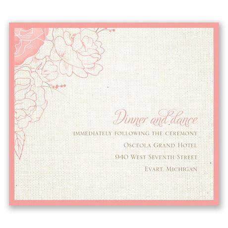 Floral Linen Pocket Reception Card