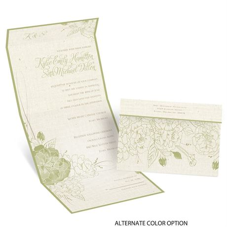 Floral Linen - Seal and Send Invitation
