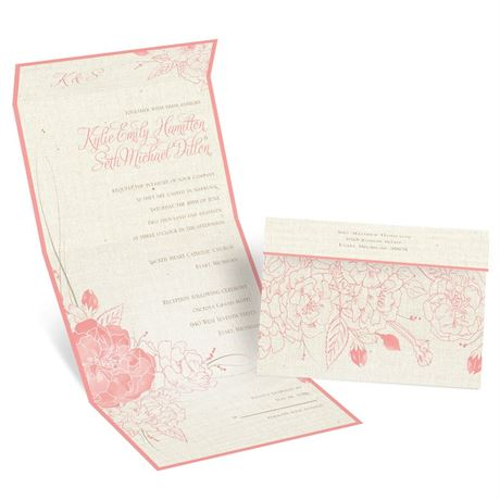 Floral Linen Seal and Send Invitation