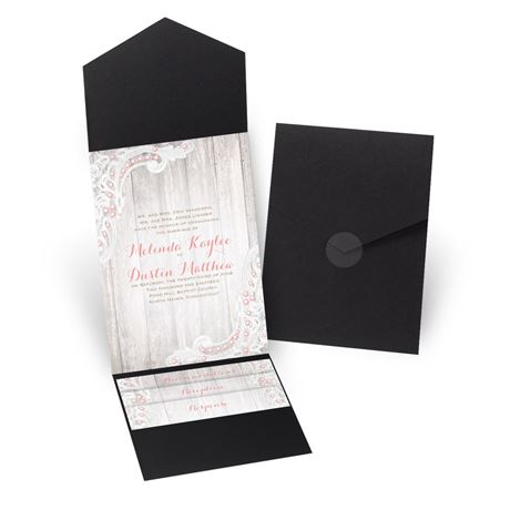 Country Affair - Black - Pocket Invitation