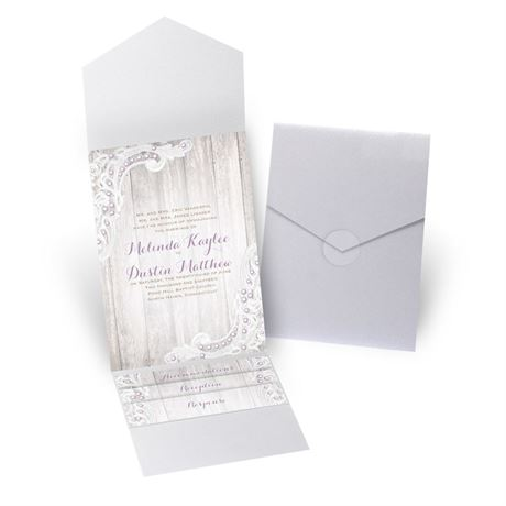 Country Affair - White Shimmer - Pocket Invitation