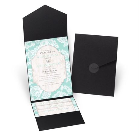 Lace Love - Black - Pocket Invitation