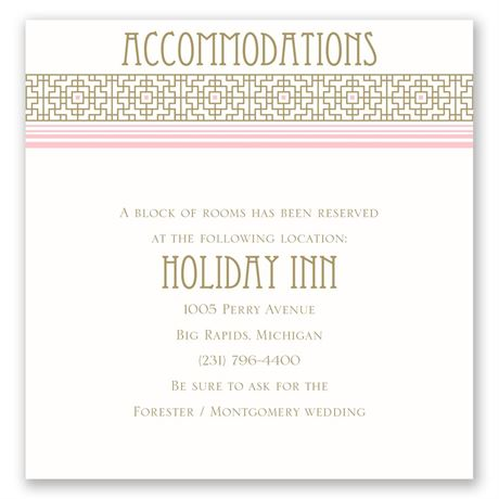 Sweet Romance Pocket Accommodations Card