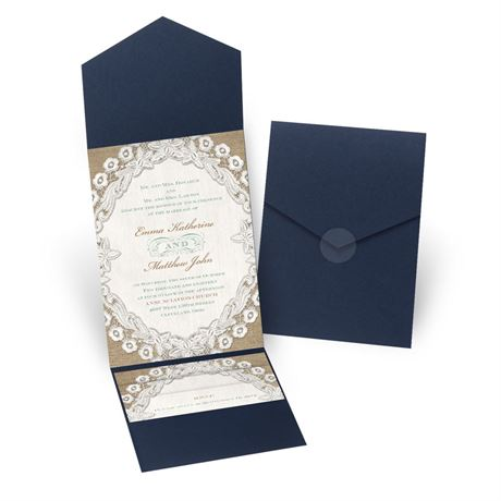 Embroidered Embrace - Navy - Pocket Invitation