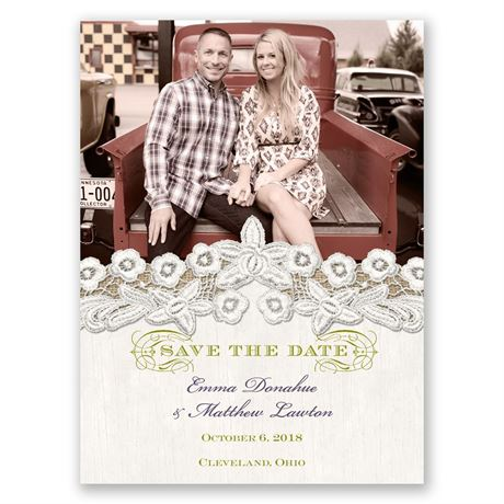 Embroidered Embrace Save the Date Card
