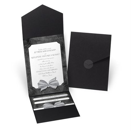 Simply Dashing - Black - Pocket Invitation