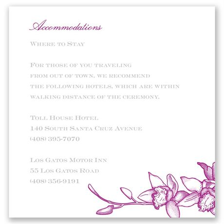 Exotic Orchid Pocket Accommodations Card