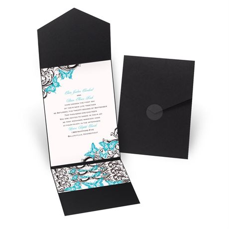 Love Takes Flight - Black - Pocket Invitation