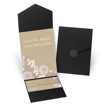 Prairie Floral - Black - Pocket Invitation