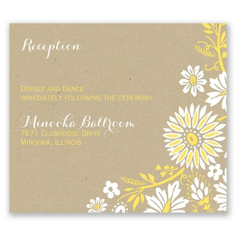 Prairie Floral Pocket Reception Card