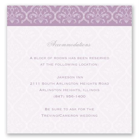 Classic Romance Pocket Accommodations Card