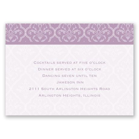 Classic Romance Reception Card