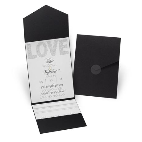 Infinite Glam - Black - Pocket Invitation