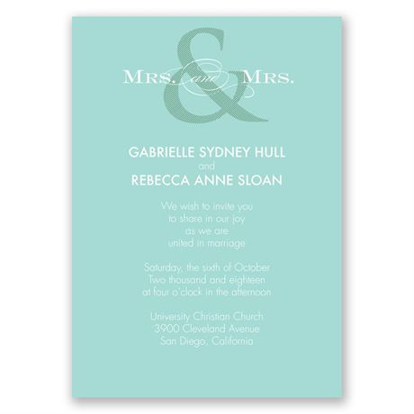 Contemporary Couple Mrs. and Mrs. Invitation