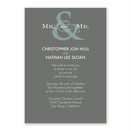 Contemporary Couple - Mr. and Mr. - Invitation
