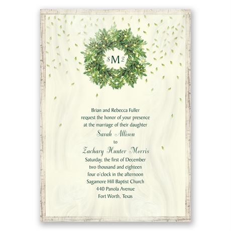 Monogram Wreath Invitation