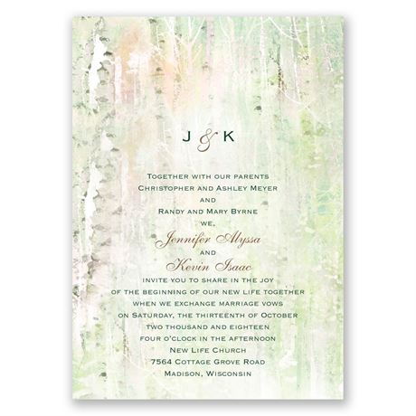 Watercolor Birch Trees Invitation